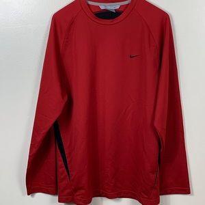 Nike Long Sleeve Red Activewear Shirt Medium
